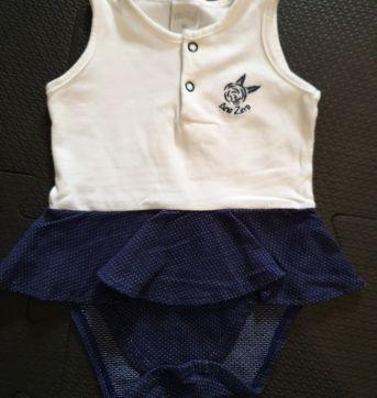 Body vestido branco e azul - 3 a 6 meses - Ano Zero