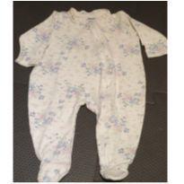 Macaçao flor azul com zíper - 3 a 6 meses - Baby fashion