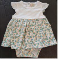 Body vestido florzinha verde - 3 a 6 meses - Teddy Boom