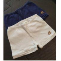 Kit shorts azul e off white - 3 a 6 meses - Up Baby