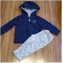 Conjunto moletom azul / calça flor - 9 meses - Carter`s