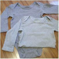 Kit body manga longa cinza/azul - 9 a 12 meses - Teddy Boom