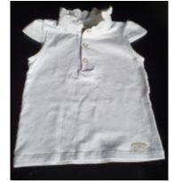 Camiseta branca com detalhe na gola - 6 a 9 meses - Baby Classic