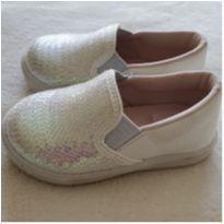Sapato branco com paetê - 21 - Baby Club