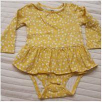 Body vestido manga longa amarelo - 1 ano - Carter`s