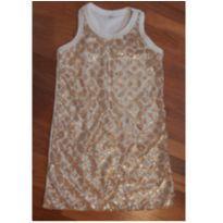 vestido de `paetês` dourado - 3 anos - Sem marca
