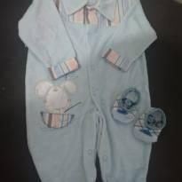 Look Baby Blue_ Macacão + Sapatinho meia - 3 a 6 meses - Não informada