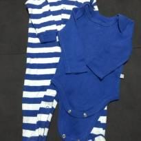 Look Listradinho- Macacão listrado 3 a 6 meses + Body Azul 3 a 6 meses - 3 a 6 meses - Teddy Boom