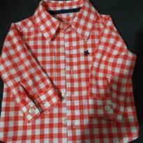 Camisa Xadrez Vermelha  Tamanho M - 3 a 6 meses - Não informada