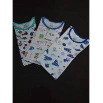 Conjunto Pijama 3 camisetas Manga Longa- Tam 1 - 9 a 12 meses - Pimpinha