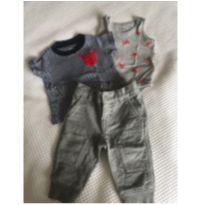 Conjunto 3 peças Calça/body/camiseta - 3 a 6 meses - GAP e Carter`s