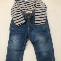 Calça Jeans Zara/ Body H&M - 9 a 12 meses - Zara e H&M