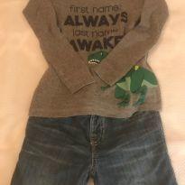 Conjunto Calça Gap/ Camiseta - 18 a 24 meses - GAP e Old Navy