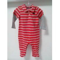 Macacão com listras vermelho - 6 meses - Carter`s