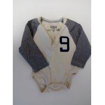 Body manga longa bege e azul - 6 meses - Oshkosh