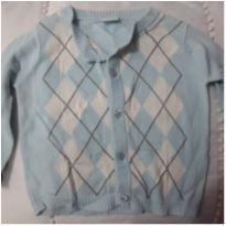 Cardigan casaquinho baby way riachuelo azul e bege, marrom - 9 a 12 meses - Baby Way
