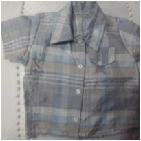 Camisa azul e cinza, quadriculada, xadrez - 3 a 6 meses - Sem marca