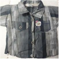 Camisa cinza e azul com bege casual - 3 a 6 meses - Broquinha