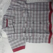 Camisa cinza e vermelho, xadez, quadriculado - 6 a 9 meses - Sem marca