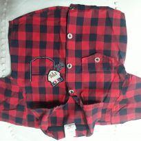 Camisa quadriculado, xadrez vermelho e azul marinho tm G - 3 a 6 meses - Broquinha