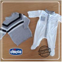 Macação OffWhite/Cinza Chicco 1M + Blusa Lã  Teddy Boom - 0 a 3 meses - Chicco e Teddy Boom