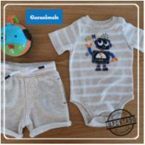 Conjunto Body Robo + Shorts moleton - 00018 - 0 a 3 meses - Garanimals