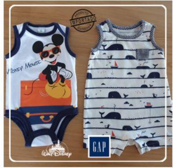 Macacão regata + Body Mickey - 0 a 3 meses - GAP e Disney
