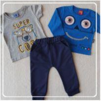 Calca tamanho P Importada + 2 camisetas mangas longa e curta - 3 a 6 meses - Outras