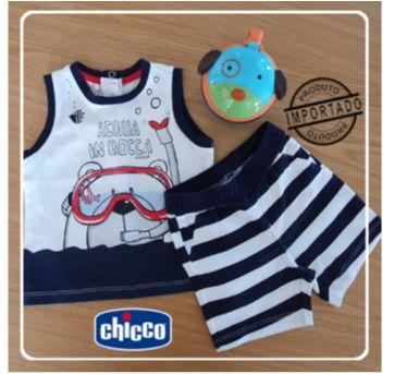 Conjunto Camieta Regata + Shorts (acqua in boca) - 9 meses - Chicco