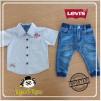 Calça Jeans/Moleton + Camisa botão cinza - 6 a 9 meses - Levi`s