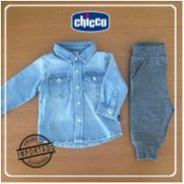 Camisa Jeans e Calça de Moleton