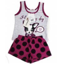 Pijama Infantil Curto Cachorrinho - 4 anos - Não informada