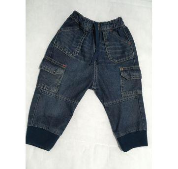 Calça Jeans p/ Bebe com Elástico - Tam 6/9 Meses - 6 a 9 meses - Baby Way