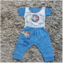 Pijama Body Calça - Tam. M - 6 a 9 meses - Pé de Amor