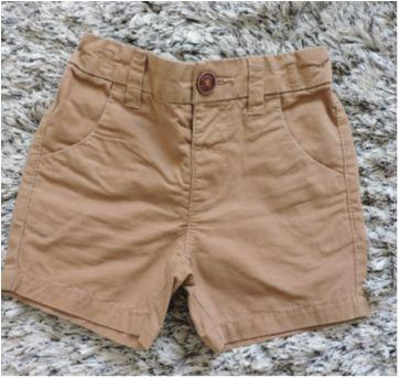 Shorts sarja com regulagem na cintura - 9 a 12 meses - Importada