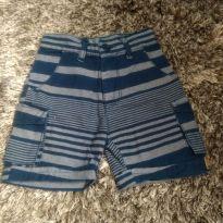 Bermuda Jeans listrada com regulagem na cintura - 2 anos - Rovitex Kids