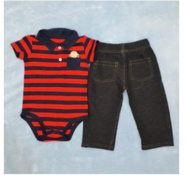 Conjunto Calça Jeans e Body Gola Polo de Macaquinho - 1 ano - Child of Mine e Carter`s