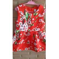 Vestido Vermelho floral - 3 anos - Não informada