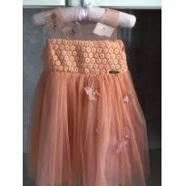Vestido encantador cor pêssego da marca Ninali, tam. 2 (preço original R$269,00) - 18 a 24 meses - Ninali