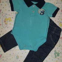 Calça Jeans + body polo - 6 a 9 meses - Mini & Kids