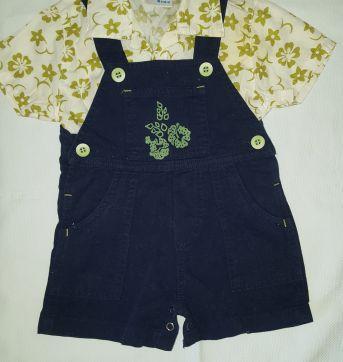 Conjuntinho jardineira + camisa - 3 a 6 meses - Toys & Kids