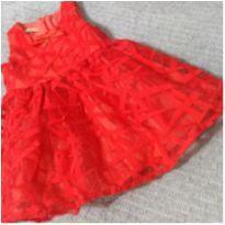 Vestido de Festa Vermelho - 9 a 12 meses - Um mais um