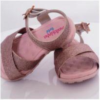 Sandália Baixa Metalizada Glitter - Rosa Claro - 17 - Molekinha