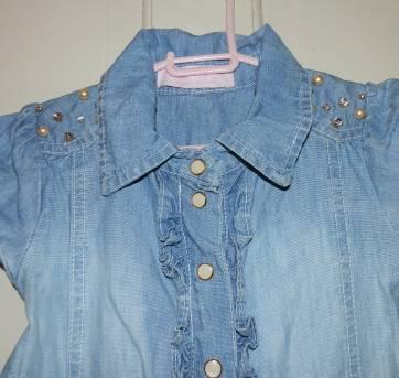 Vestido jeans com pedrarias - 6 anos - Pituchinhus
