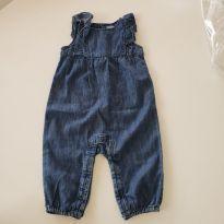 Jardineira jeans babados - 3 a 6 meses - GAP