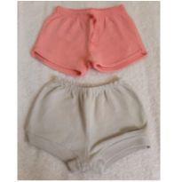 Kit Shorts Rosa Liso e Bolinha - 6 a 9 meses - Bicho Molhado e Não informada
