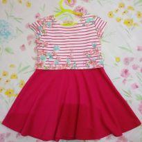 Vestido infantil / rosa e floral - 3 anos - Arte Menor