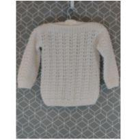Blusa de lã branca borboletas - 2 anos - Artesanal