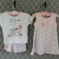 Kit pijama curto + camisola - 1 ano - Várias