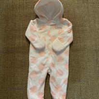 Macacão em fleece branco com bolinhas rosa - 9 meses - Carter`s